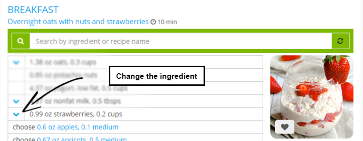 How to change the ingredient?